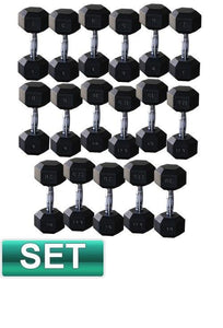 20KG - 40KG RUBBER HEX DUMBELL SET - sweatcentral