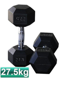 27.5KG PAIR OF RUBBER HEX DUMBBELLS - sweatcentral