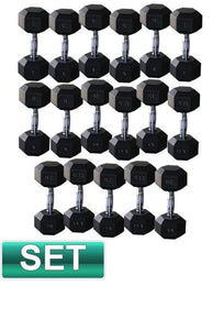 2KG - 25KG RUBBER HEX DUMBBELL GYM WEIGHTS DUMBELL SET - sweatcentral