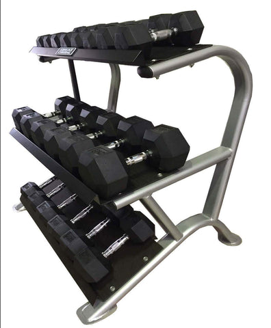 Image of 3 TIER HEAVY DUTY DUMBBELL WEIGHTS STORAGE STAND RACK GYM - sweatcentral