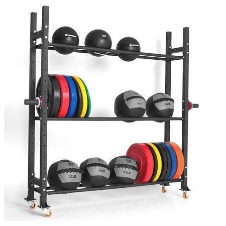 3 TIER MULTI PURPOSE STORAGE RACKING SYSTEM MEDICINE BALL RACK WEIGHT PLATES RACK - sweatcentral