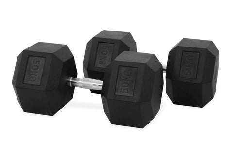 50KG PAIR OF RUBBER HEX DUMBBELLS - sweatcentral