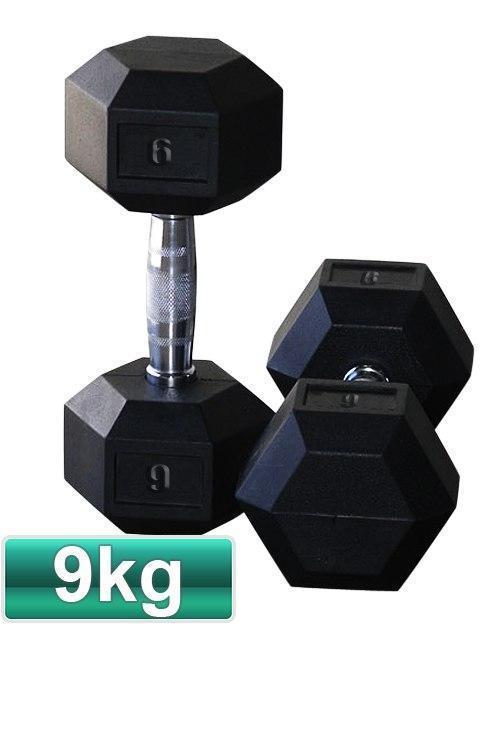 9KG PAIR OF RUBBER HEX DUMBBELLS - sweatcentral