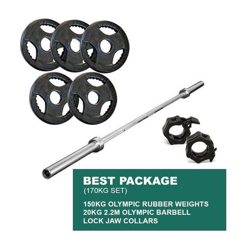 BEST PACKAGE: 150KG OLYMPIC WEIGHT PLATES + 2.2m 1000LB OLYMPIC WEIGHTLIFTING BRASS BUSHING BARBELL + LOCK JAWS - sweatcentral
