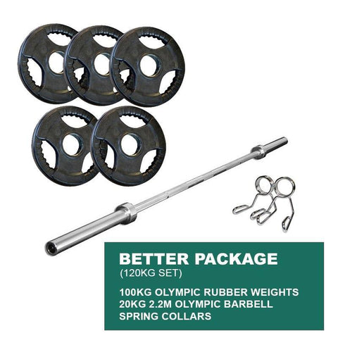 Image of BETTER PACKAGE: 100KG OLYMPIC WEIGHT PLATES + 2.2m 1000LB OLYMPIC WEIGHTLIFTING BRASS BUSHING BARBELL + SPRING CLIPS - sweatcentral