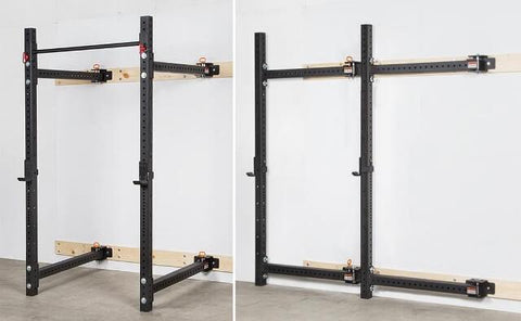 FOLD BACK WALL MOUNTED RIG SQUAT POWER RACK - sweatcentral