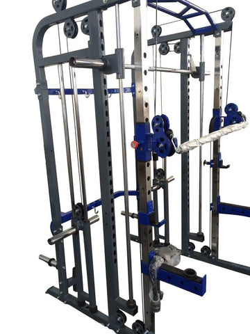 FT037 FUNCTIONAL TRAINER POWER CAGE RACK & SMITH MACHINE CABLE CROSS OVER GYM ALL IN ONE - sweatcentral