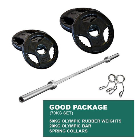 Image of GOOD PACKAGE: 50KG OLYMPIC WEIGHT PLATES + 2.2m 1000LB OLYMPIC WEIGHTLIFTING BRASS BUSHING BARBELL + SPRING CLIPS - sweatcentral