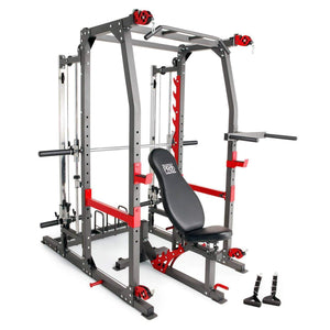 MARCY MULTI FUNCTIONAL TRAINER POWER CAGE RACK & SMITH MACHINE CABLE CROSS OVER GYM ALL IN ONE - sweatcentral