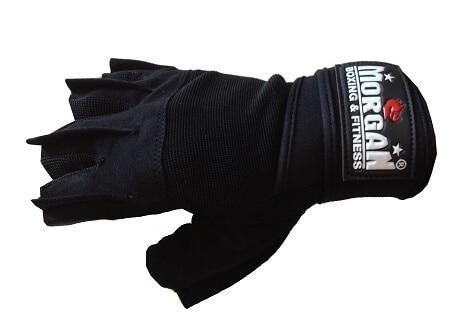 Image of MORGAN ''SHARK'' WEIGHT LIFTING GLOVES WEIGHT LIFTING GYM GLOVES - LONG WRIST STRAP - sweatcentral