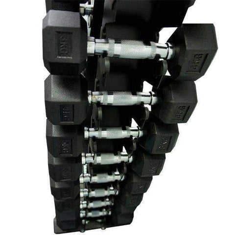 Package 3kg - 15kg Rubber Hex Dumbbells with Vertical Weights Storage Rack Tree - sweatcentral