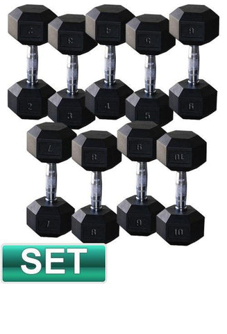 PACKAGE OF 10KG - 30KG RUBBER HEX DUMBELLS AND 2 TIER STORAGE RACK - sweatcentral