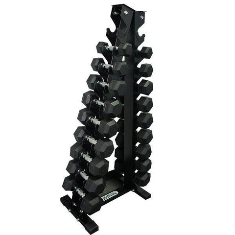 Image of PACKAGE OF 2KG - 10KG RUBBER HEX DUMBELLS AND  VERTICAL STORAGE RACK TREE - sweatcentral