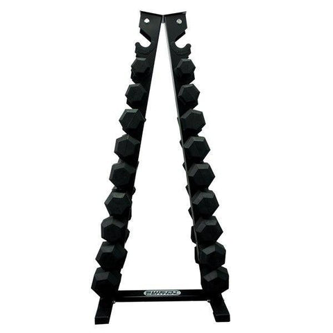 PACKAGE OF 2KG - 10KG RUBBER HEX DUMBELLS AND  VERTICAL STORAGE RACK TREE - sweatcentral