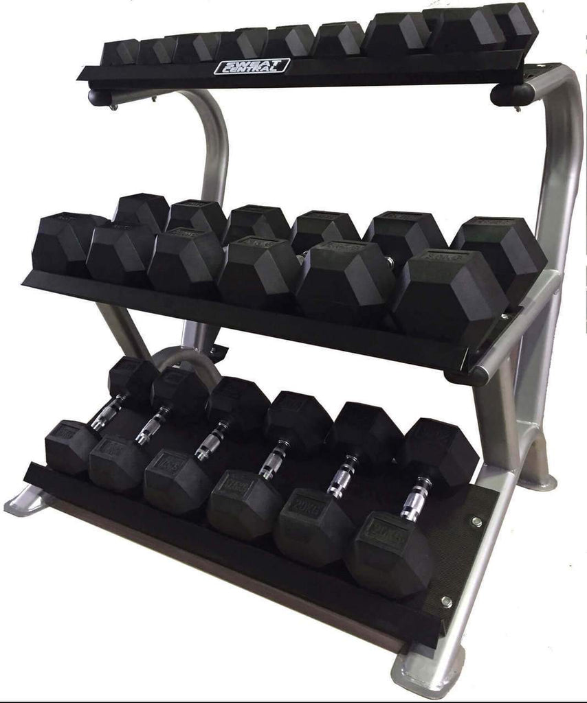 PACKAGE OF 5KG - 20KG RUBBER HEX DUMBBELLS & 3 TIER STORAGE WEIGHTS RACK - sweatcentral