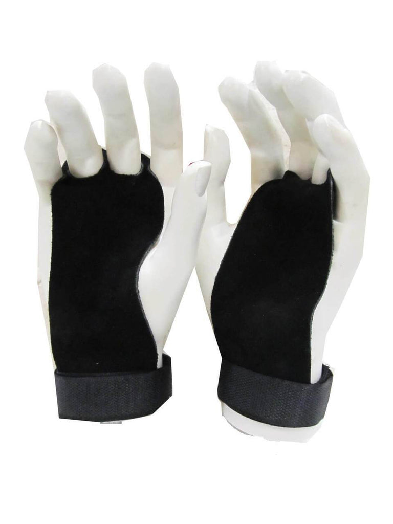 PAIR OF LEATHER PALM GRIPS FOR WEIGHT LIFTING GYM STRAPS HOOKS GLOVES BODYBUILDING WEIGHTLIFTING - sweatcentral