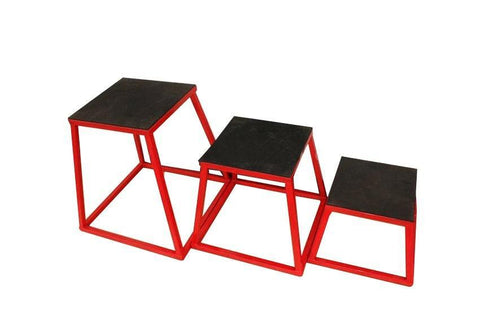 "Gym Equipment SET OF 3 12"" (30cm) 18"" (46cm)  24"" (61cm) STEEL PLYOMETRIC JUMP BOX sweat central"