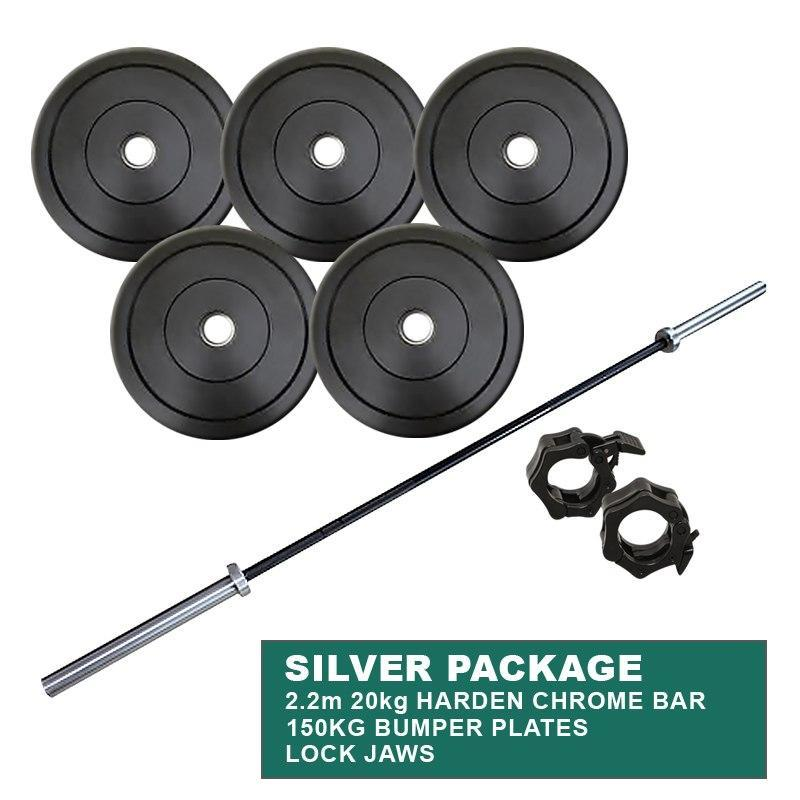 SILVER PACKAGE: 150KG BUMPER WEIGHT PLATES + POWERLIFTING CROSS TRAINING OLYMPIC CHROME BAR - sweatcentral
