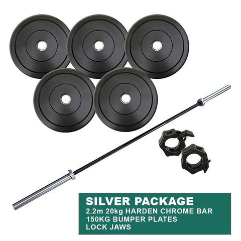 Gym Equipment SILVER PACKAGE: 150KG BUMPER WEIGHT PLATES + POWERLIFTING CROSS TRAINING OLYMPIC CHROME BAR + LOCK JAWS sweat central