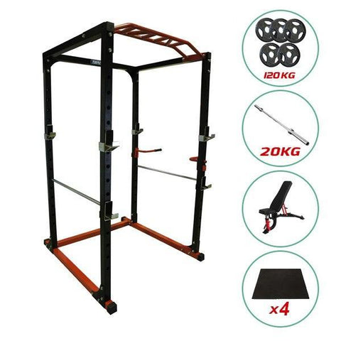 Image of Gym Equipment SILVER PACKAGE PR528 POWER CAGE 120kg WEIGHTS BENCH BARBELL AND MATS sweat central