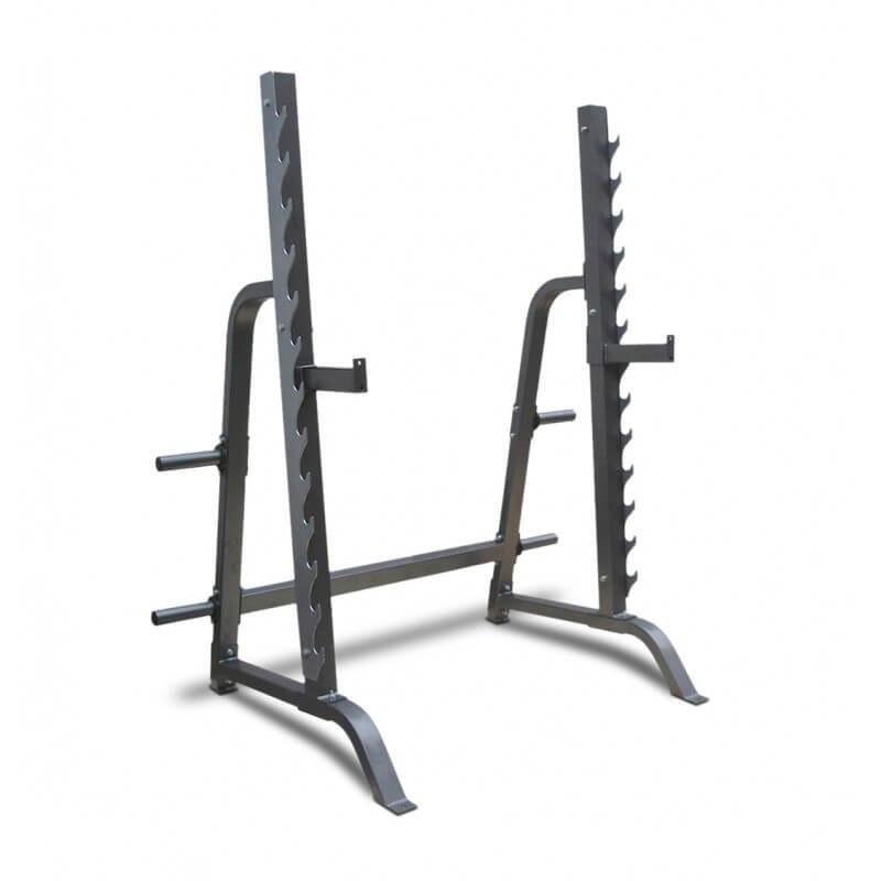SQUAT RACK AND BENCH PRESS STATION HALF CAGE WITH WEIGHT PLATE STORAGE - sweatcentral