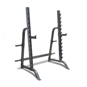 Gym Equipment SQUAT RACK AND BENCH PRESS STATION HALF CAGE WITH WEIGHT PLATE STORAGE sweat central