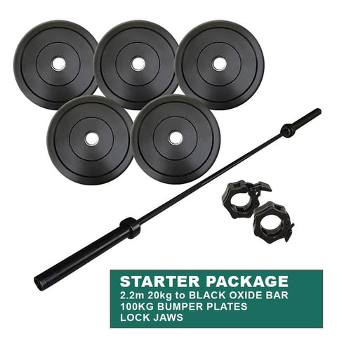 Image of Gym Equipment STARTER PACKAGE: 100KG BUMPER WEIGHT PLATES + POWERLIFTING CROSS TRAINING OLYMPIC OXIDE BAR + LOCK JAWS sweat central