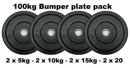 Image of STARTER PACKAGE: 100KG BUMPER WEIGHT PLATES + POWERLIFTING CROSS TRAINING OLYMPIC OXIDE BAR + LOCK JAWS - sweatcentral