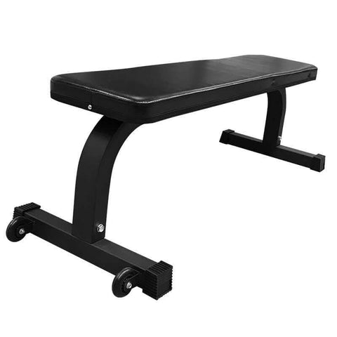 Image of Gym Equipment WEIGHT LIFTING FLAT BENCH GYM WEIGHTS WITH WHEELS sweat central