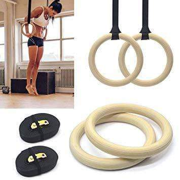 Gym Equipment WOODEN CROSS TRAINING GYM POWER RINGS GYMNASTICS ROPES sweat central
