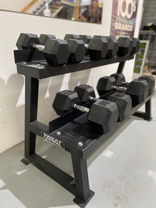 2 TIER RUBBER HEX DUMBBELL STORAGE RACK