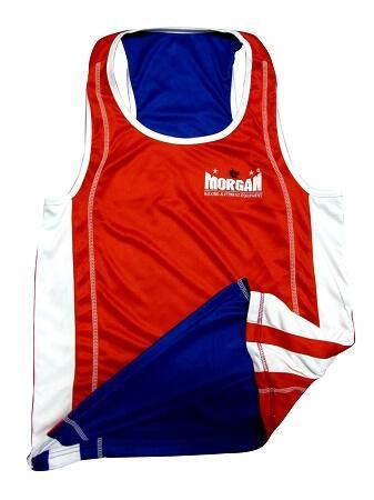 Image of MORGAN REVERSIBLE RED/BLUE TRAINING BOXING COMPETITION SINGLET - sweatcentral