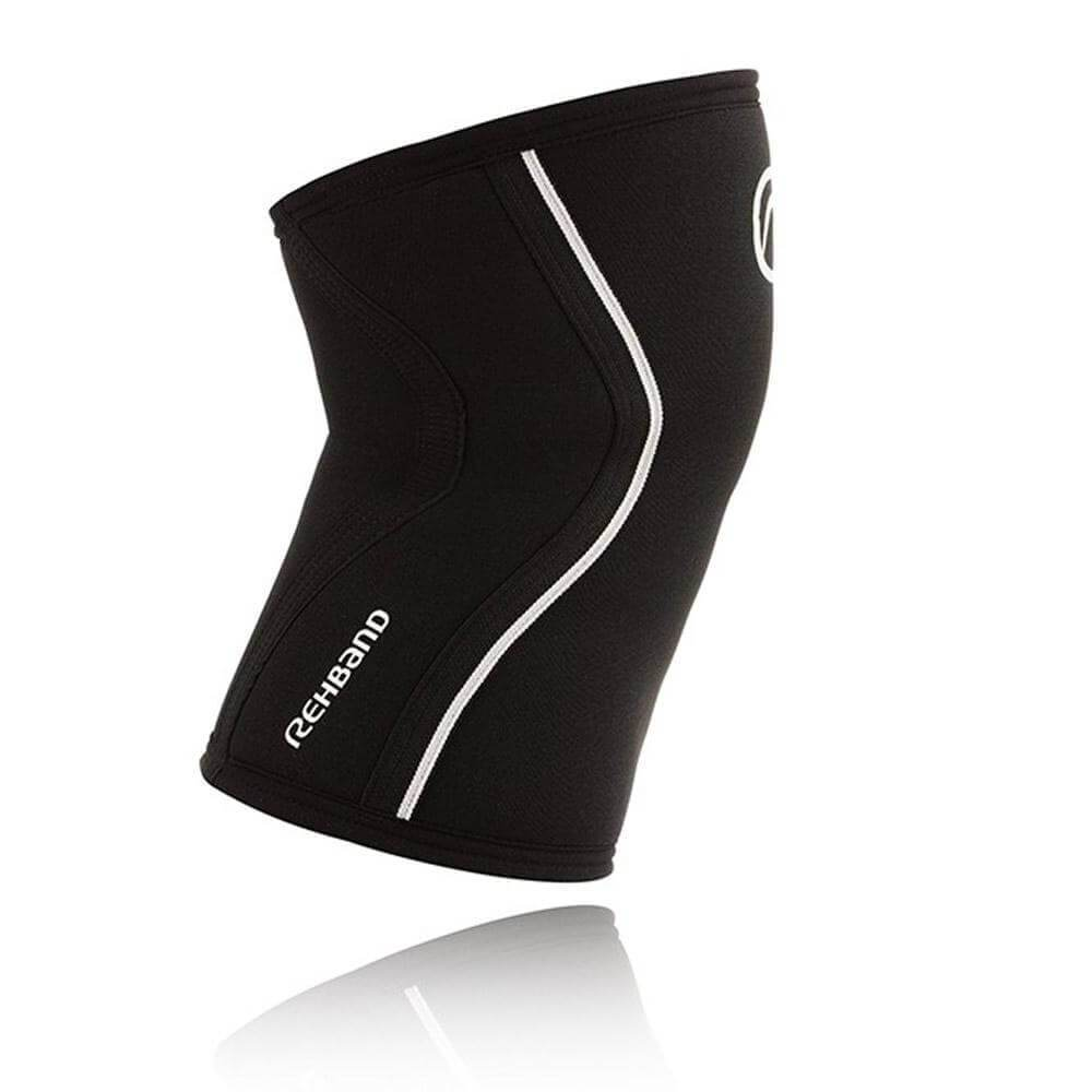 REHBAND UNISEX KNEE SLEEVES RX SUPPORT 5MM BLACK POWERLIFTING WEIGHTLIFTING - sweatcentral
