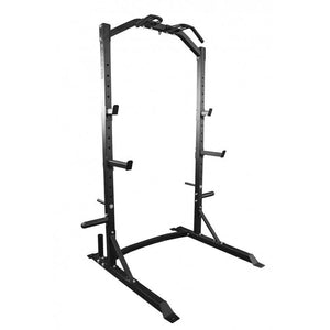 HALF RACK SQUAT BENCH PRESS PULL UP STATION CAGE WITH WEIGHT PLATES STORAGE