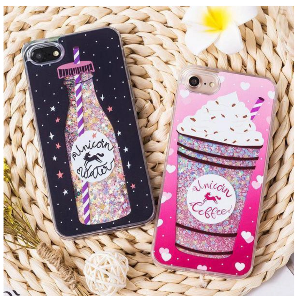 GLITTER LIQUID iPHONE CASE - UNICORN COFFEE and UNICORN WATER