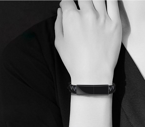 STYLISH BLACK PHONE CHARGER LEATHER BRACELET