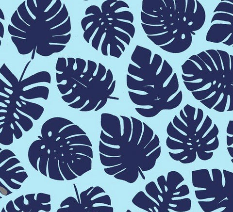 Swim Scrunchy/Bows - Blue Palm Leaves