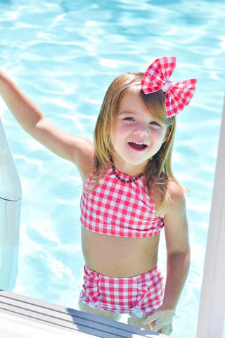 Swim Scrunchy/Bows - Red Gingham