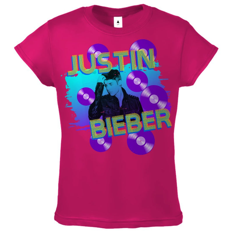 Justin Bieber Splatter Records - Youth Hot Pink T-Shirt