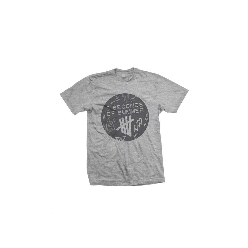 5 Seconds Of Summer Scribble Logo - Mens Heather Grey T-Shirt
