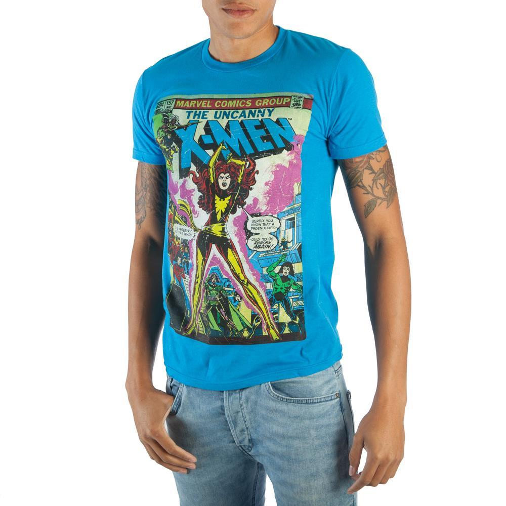 Vintage Uncanny X-Men Phoenix Marvel Comic Book Cover Artwork Men's Black Graphic Print Boxed Cotton T-Shirt