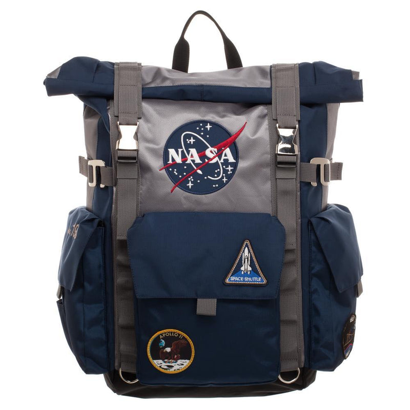 NASA Roll Top Backpack Blue and Grey Backpack