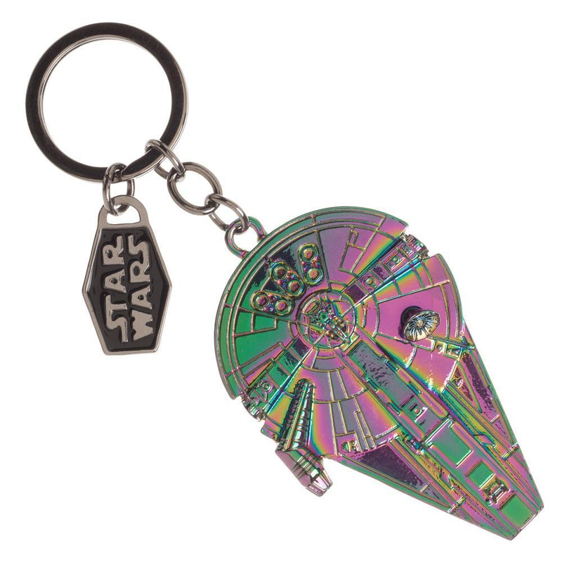 Holographic Millenium Falcon Keychain, Star Wars Key Holder with Title Dangle Charm