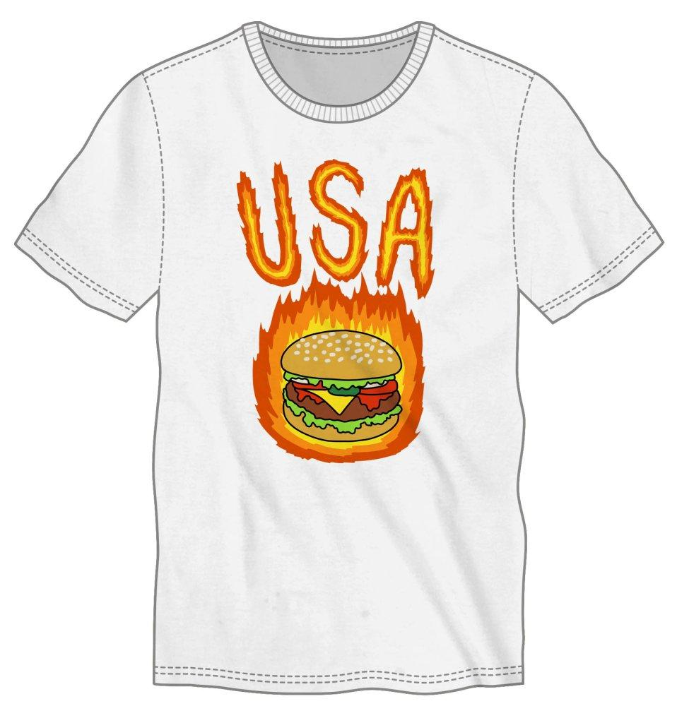 USA Flaming Hot Burger Men's White T-Shirt