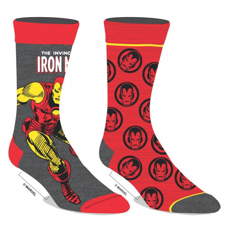 Pair of Iron Man Logo Sock, Pattern and Character Athletic Crew Socks, Set of 2 Pairs