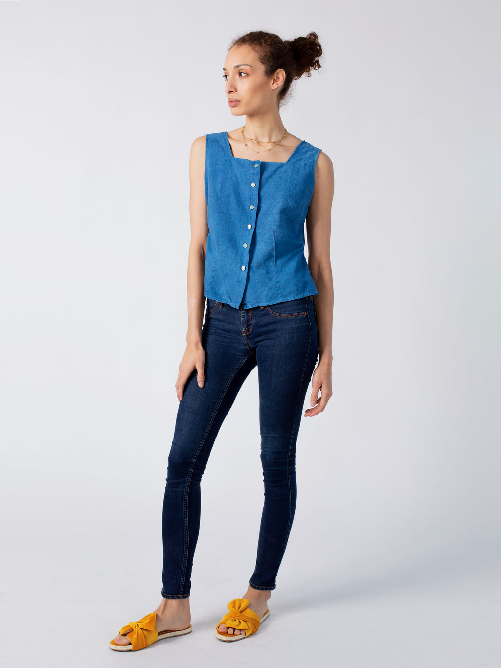 Indigo Dyed Button Up Tank