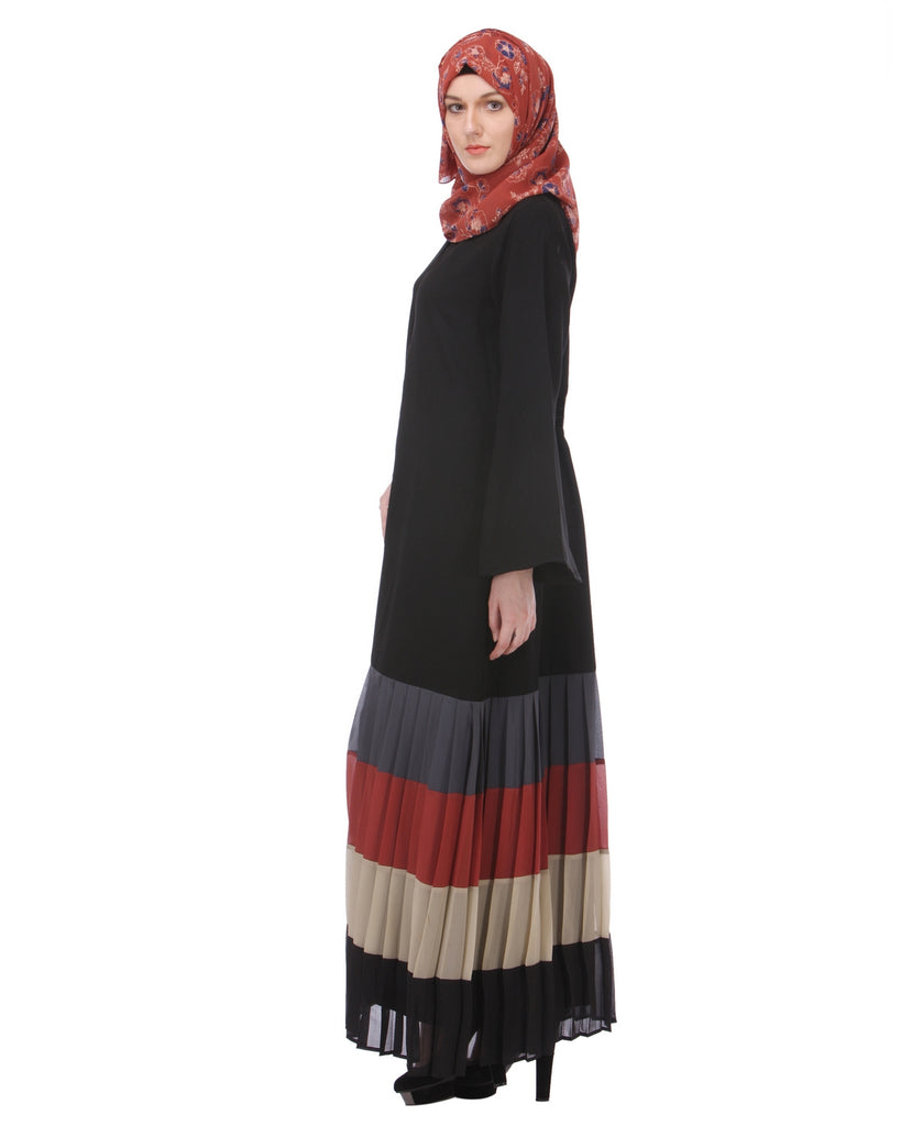 Multi Coloured Pleated Abaya