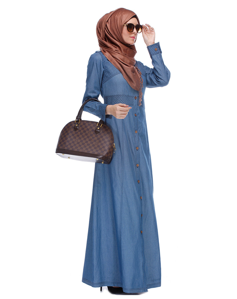 Light Blue Collared Denim Abaya