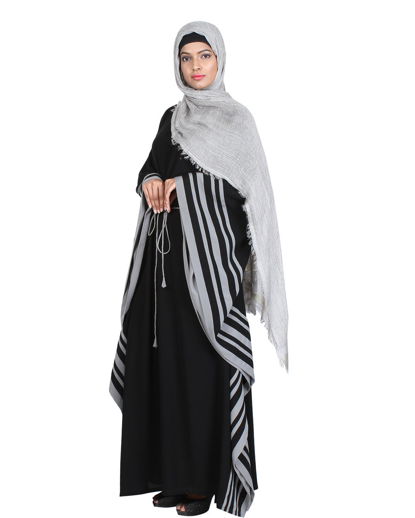 Black Kaftan with Striped Grey Border