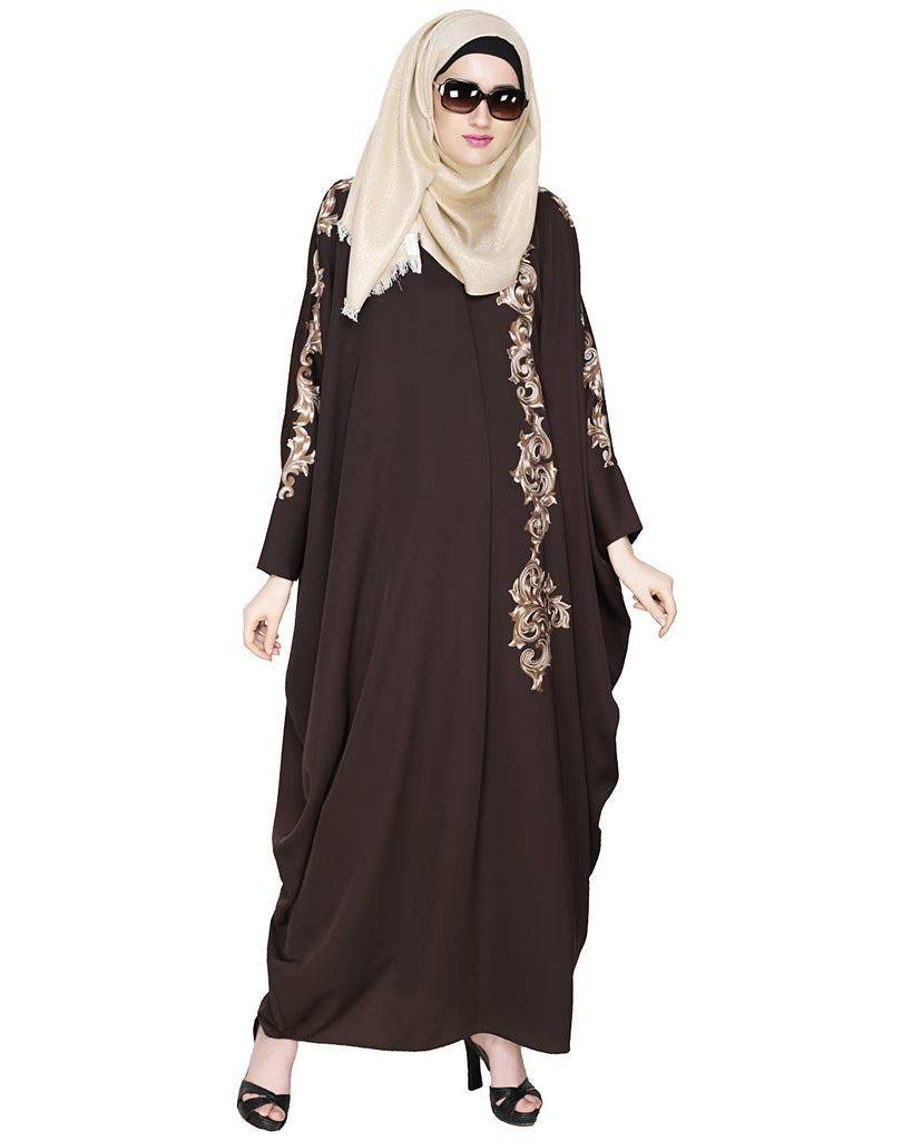 Dual Shade Floral Embroidered Dark Brown Kaftan